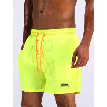 Loose Fitting Color Drawstring Board Shorts - NEON GREEN 2XL