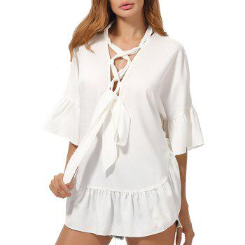 Lace Up Flared Sleeve Chiffon Tunic Top
