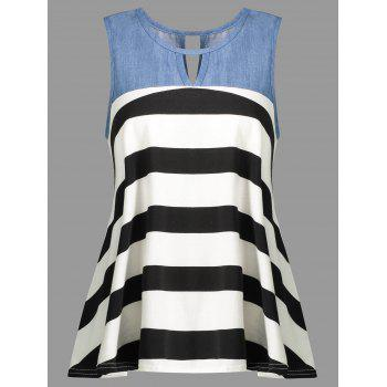 Striped Cut Out Contrast Insert Tank Top
