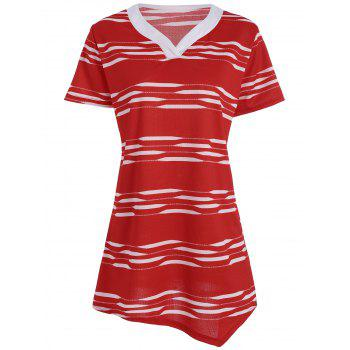 Plus Size Long V Neck Stripe T-shirt