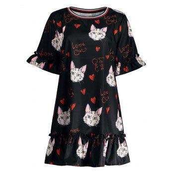 Long Plus Size Kitten Printed Bell Sleeve Ruffle Top