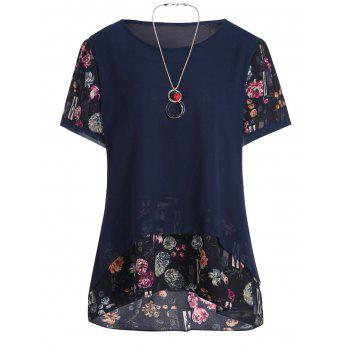Plus Size Floral Chiffon Ruffle Top with Chain