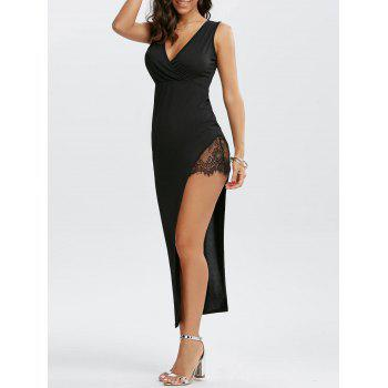 Plunge Maxi High Low Bodycon Dress