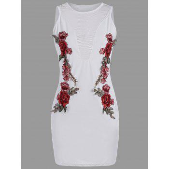 Mesh Insert Floral Embroidered Bodycon Dress