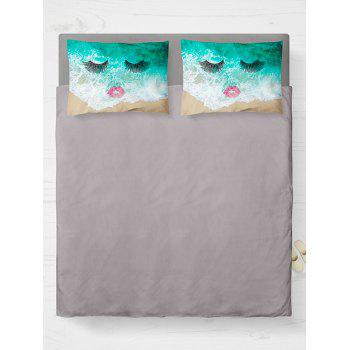Brushed Fabirc Double Pillow Case with Face Beach Printed