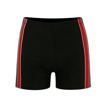 Contrast Stripe Trim Quick Dry Swimming Trunks