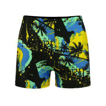 Tropical PalmTree Print Stretch Swimming Trunks