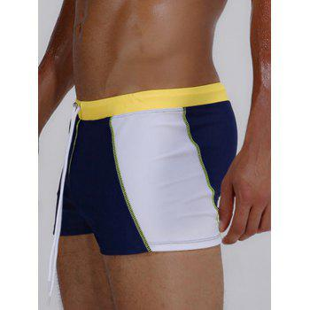 Color Block Stretch Drawstring Swimming Trunks - YELLOW L