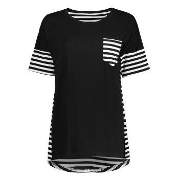 Striped Pocket High Low Tunic Tee