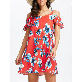 Cold Shoulder Short Floral Summer Dress