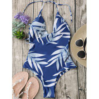 Halter Leaf Print Strappy One-Piece Swimsuit