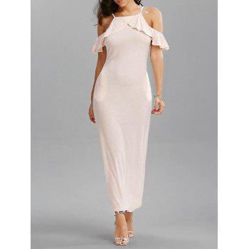 Cold Shoulder Flounce Cami Maxi Dress