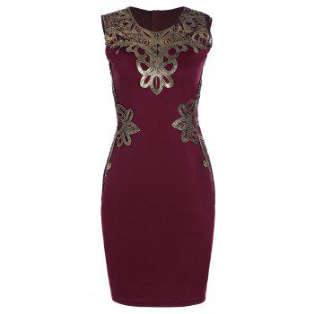 Lace Applique Sleeveless Pencil Dress