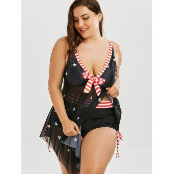Plus Size Patriotic American Flag Skirted Tankini - BLACK 5XL