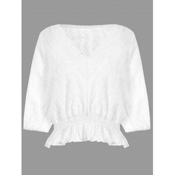 Scalloped Flounce Eyelet Peplum Blouse