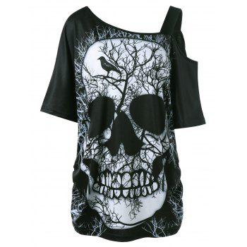Plus Size Skew Collar Skull T-shirt