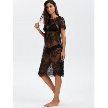 Floral Scalloped Lace Long Tunic Cover-Ups Dress - BLACK XL