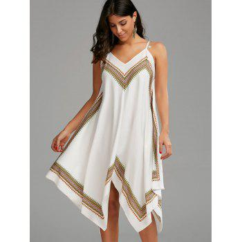 Printed Oversized Slip Handkerchief Dress - WHITE M