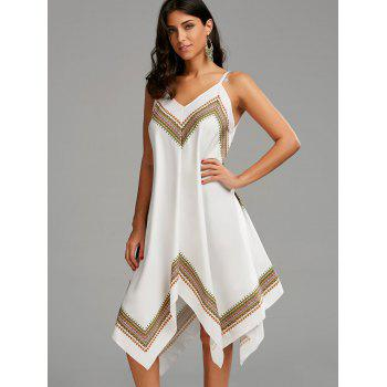 Printed Oversized Slip Handkerchief Dress - WHITE S