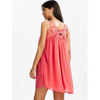 Caged Cut Out Sleeveless Chiffon Dress - WATERMELON RED L