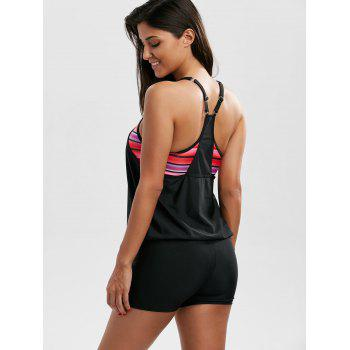 Cami Cut Out Blouson Boyleg Tankini Set - BLACK XL