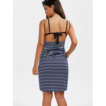 Striped Open Back Multiway Wrap Cover-ups Dress - DEEP BLUE XL