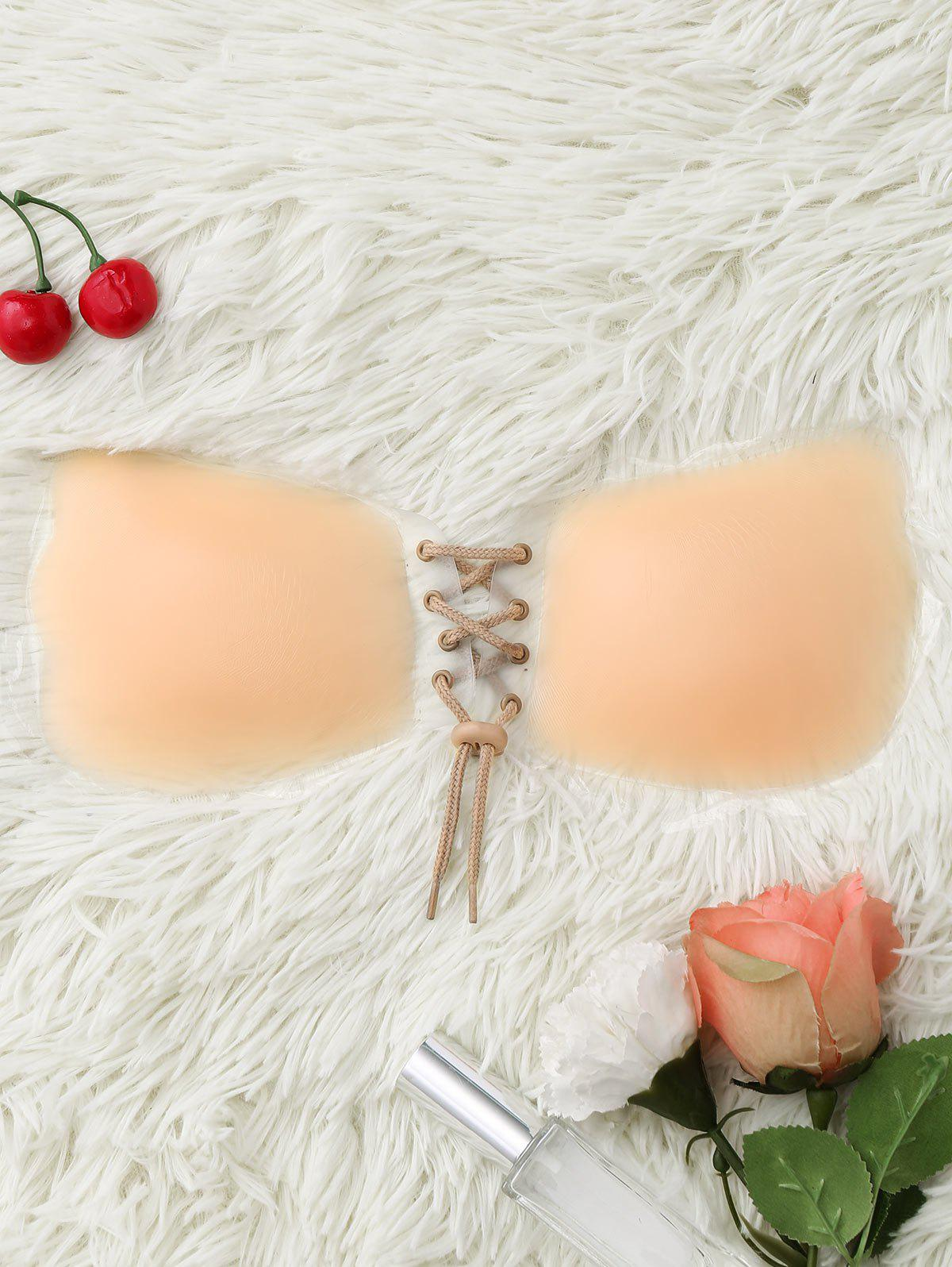 Backless Lace-Up Disposable Adhesive Bra - COMPLEXION 75C