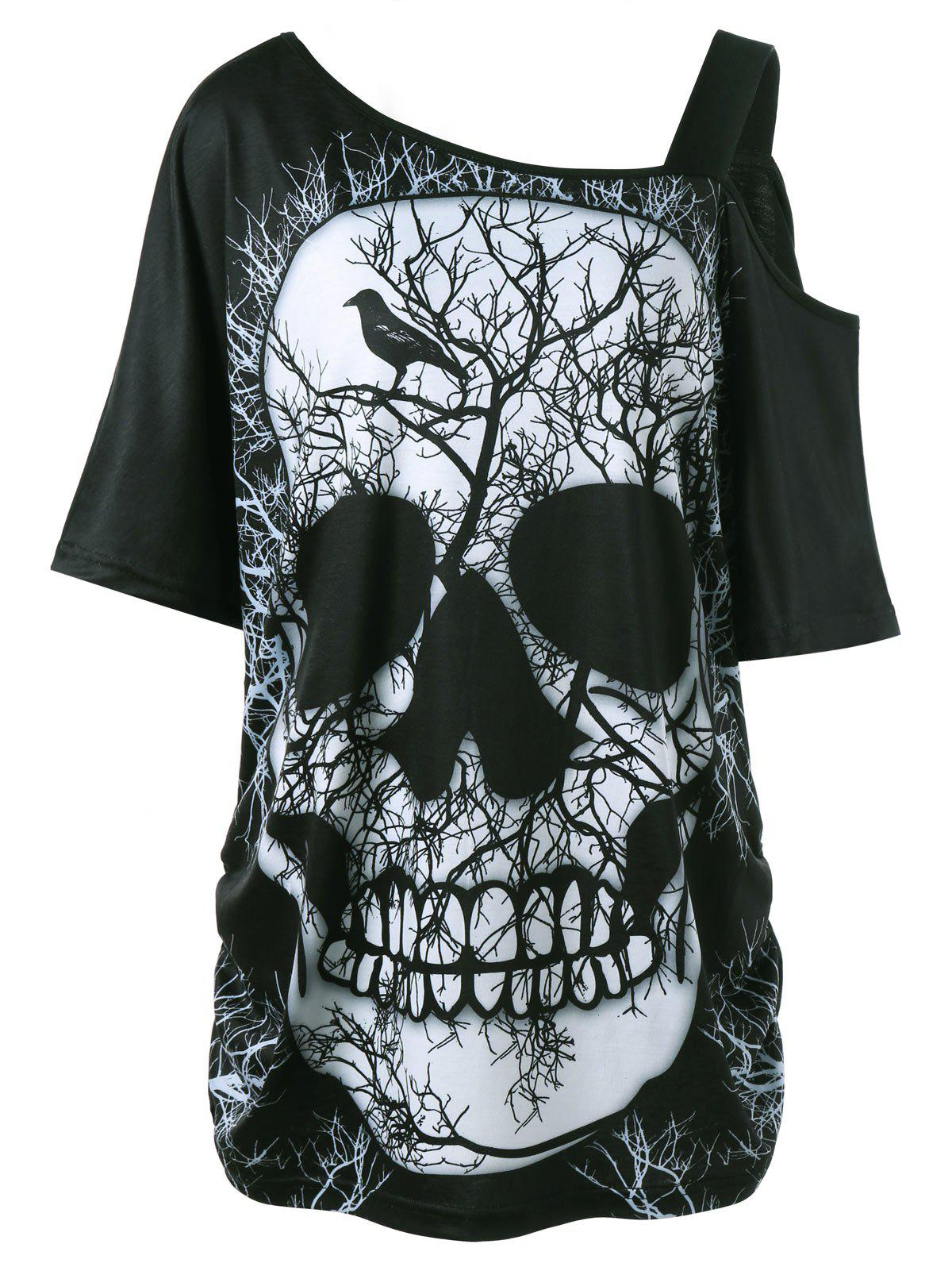 Plus Size Skew Collar Skull T-shirt - BLACK 4XL