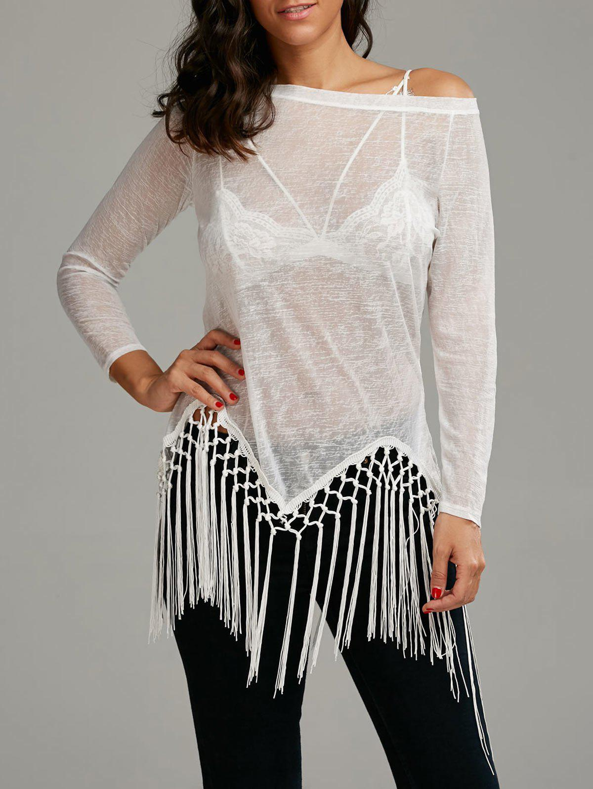 Skew Neck See Through Fringed Top - WHITE S