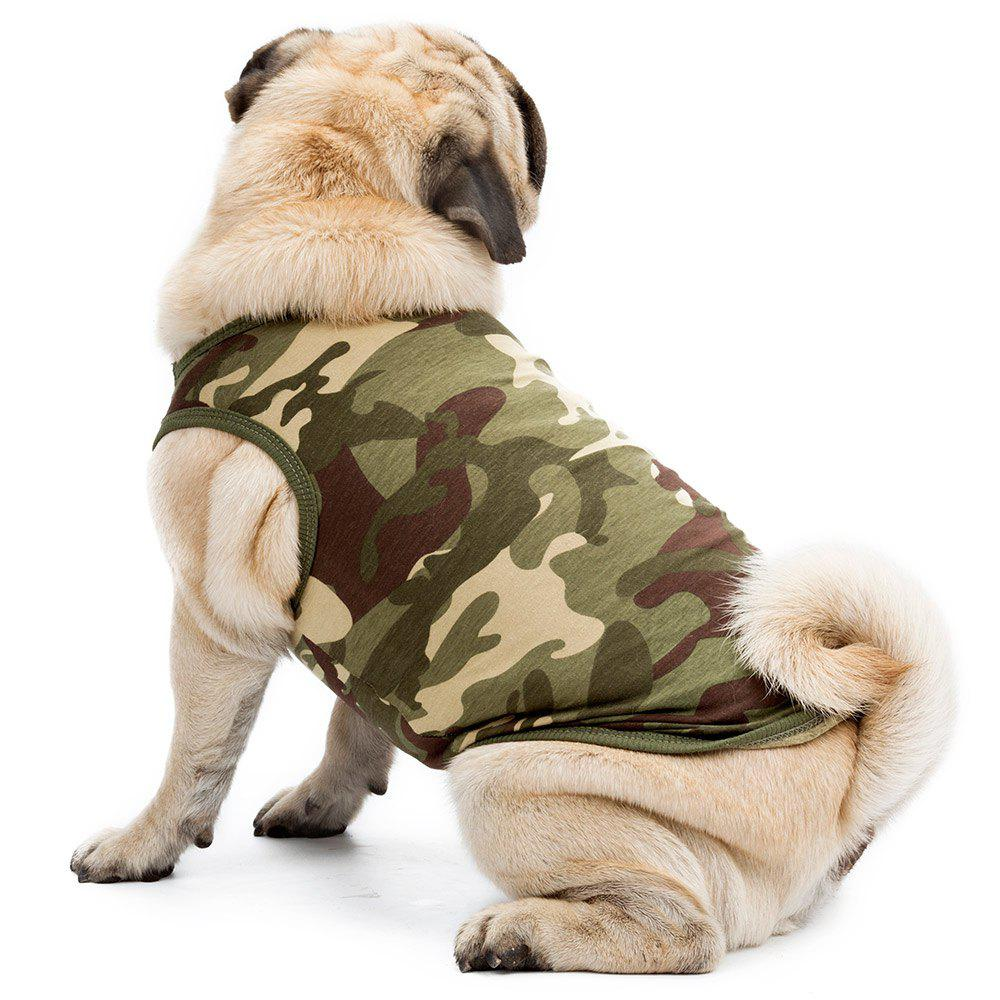 High Grade Cotton Pet Clothes Puppy Camouflage Vest - GREEN L