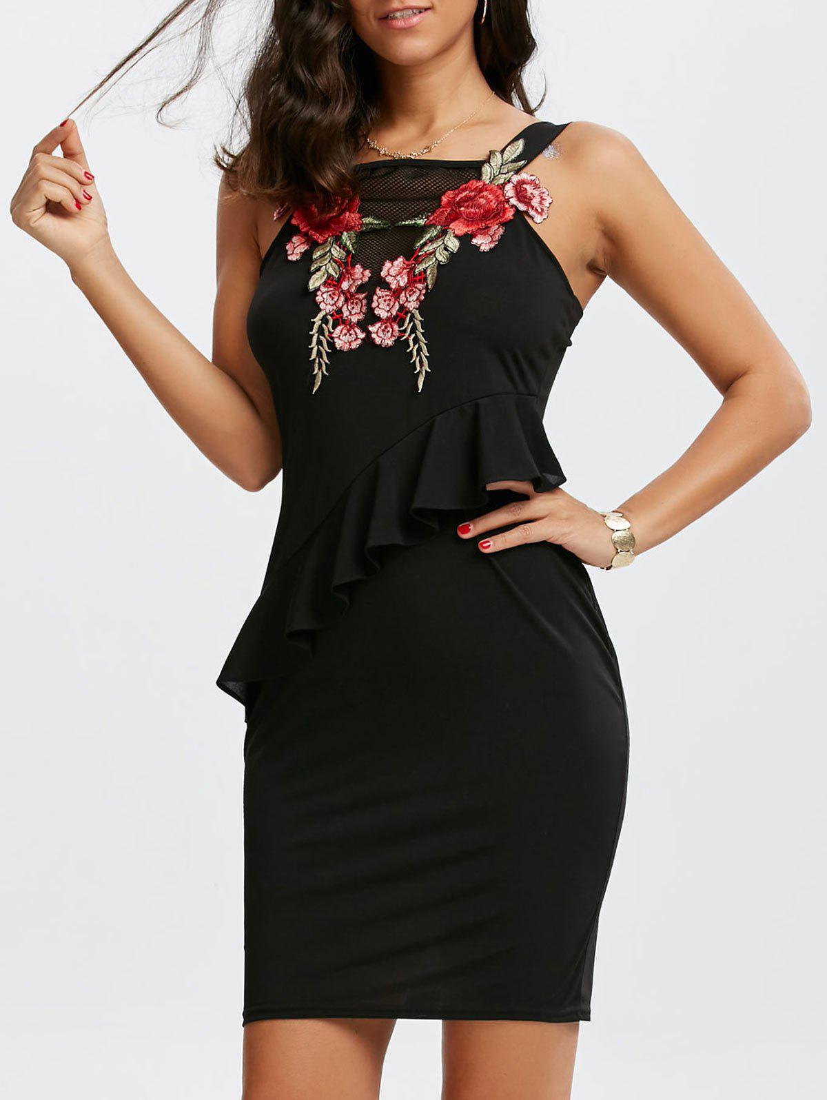Floral Embroidered Mesh Insert Mini Peplum Dress reima брюки procyon для девочки reima