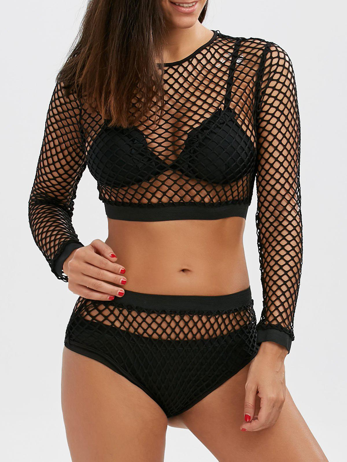 Fishnet Long Sleeve Crop Top and Briefs - BLACK L