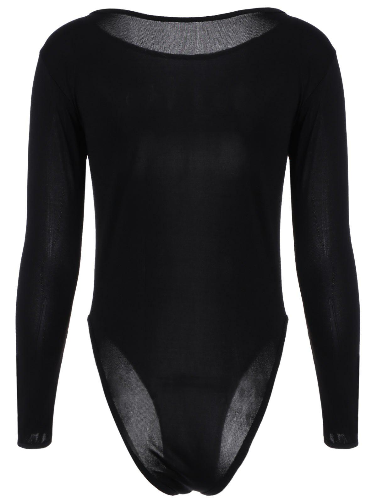 High Cut Bodysuit with Long Sleeve - BLACK ONE SIZE