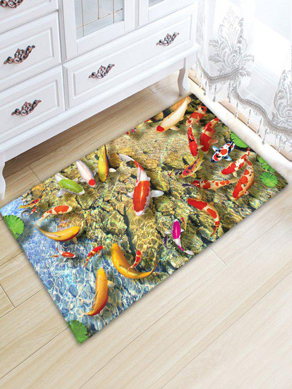 Water Absorption Antislip Flannel Goldfish Bathroom Rug indian geometric pattern water absorption flannel antislip rug