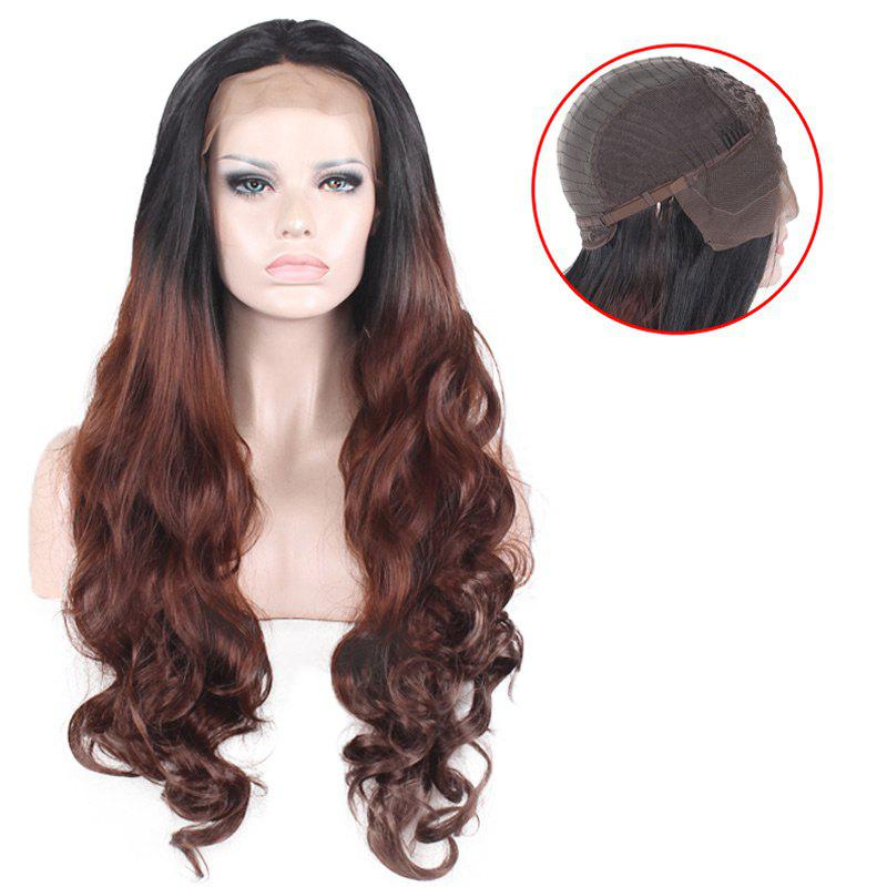 Layered Long Free Part Wavy Ombre Lace Front Synthetic Wig dark to brown body wavy ombre synthetic lace front wig ombre synthetic lace front wig cosplay heat resistant