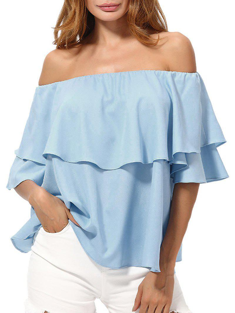 Off The Shoulder Overlay Chiffon Blouse - AZURE 2XL