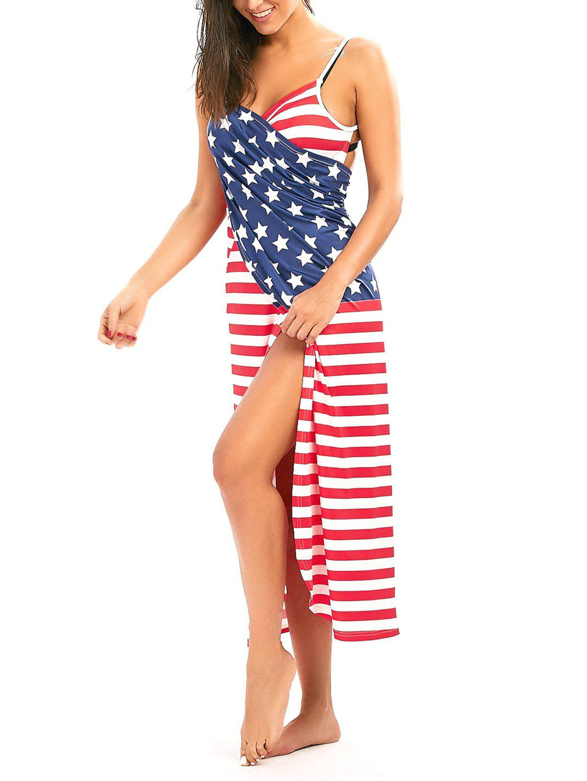 Patriotic Cover Up American Flag Wrap Dress - COLORMIX 2XL
