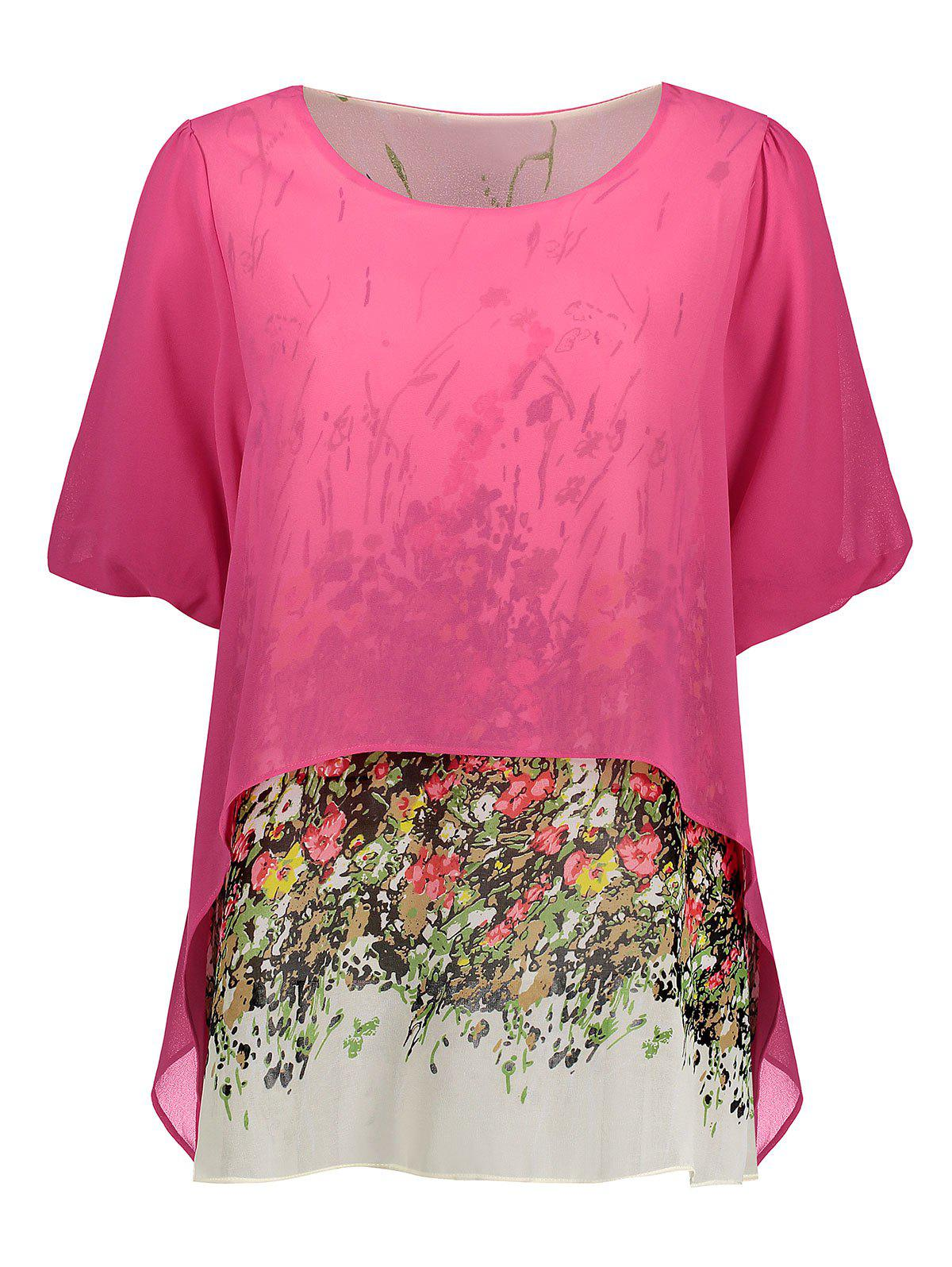 Plus Size Floral Chiffon Flowy Blouse new all metal prism set w bag for total stationcon stant 30mm