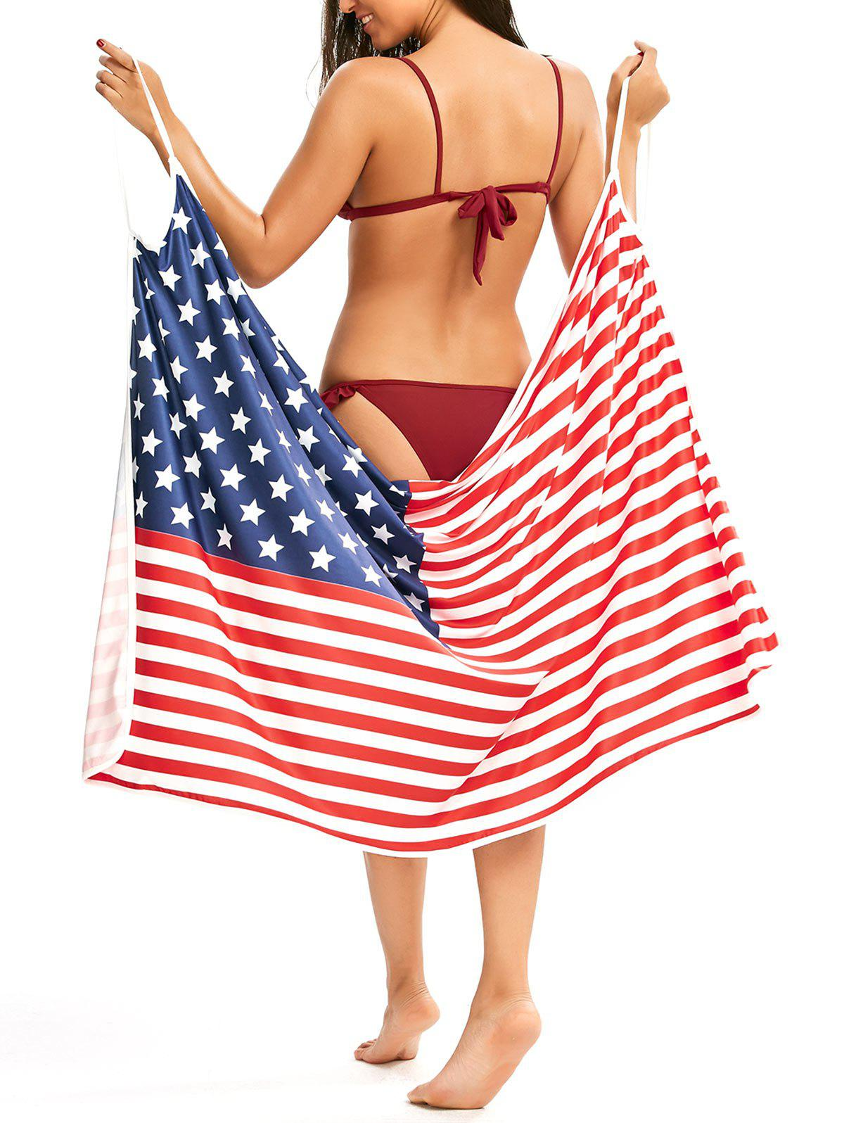 Patriotic Cover Up American Flag Slip Dress - COLORMIX XL