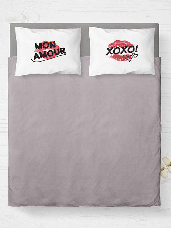 Brushed Fabirc Double Pillow Shams with Letters Lip Printing