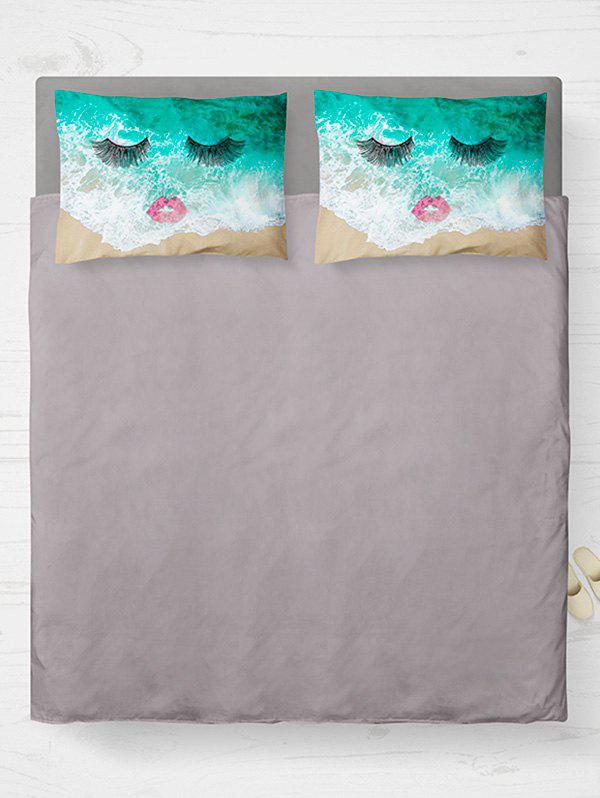 Brushed Fabirc Double Pillow Case with Face Beach Printed handpainted birds and leaf branch printed pillow case