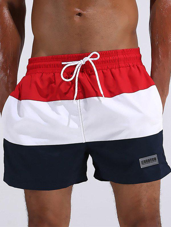 Color Block Drawstring Board Shorts - RED 2XL