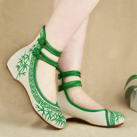 Double Knot Button Broderie Wedge Shoes - Vert 39
