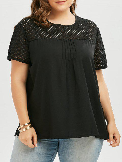49b75cac05a0e 17% OFF  2019 Plus Size Openwork Round Neck Plain T-Shirt In BLACK ...