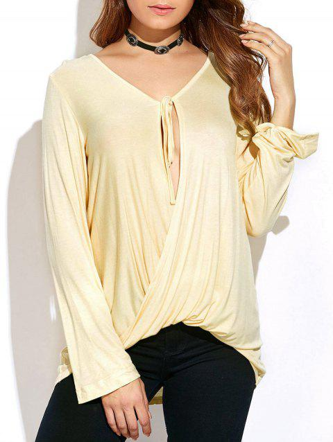 Long Sleeve Tie Neck Twisted T-Shirt - OFF WHITE M