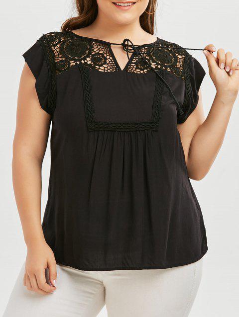 Plus Size Tie Front Crochet Trim Blouse - BLACK XL