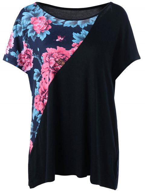 Floral Panel Plus Size T-shirt - BLACK 5XL