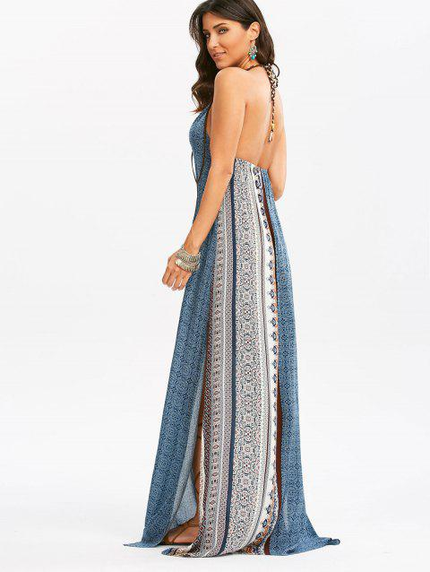 Robe Maxi Hautement Fendue Dos-Nu Style Bohémien - multicolore XL