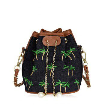 Coconut Tree Embroidery Denim Bucket Bag