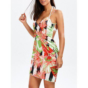 Striped Palm Leaf Beach Cover-Up Dress